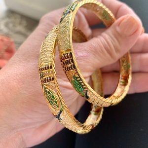 Moroccan Gold Vermeil Bangle Bracelets 26 Gram